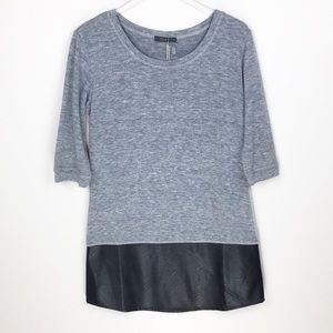 THML Faux Leather Trim Hem Tunic Sweater Dress